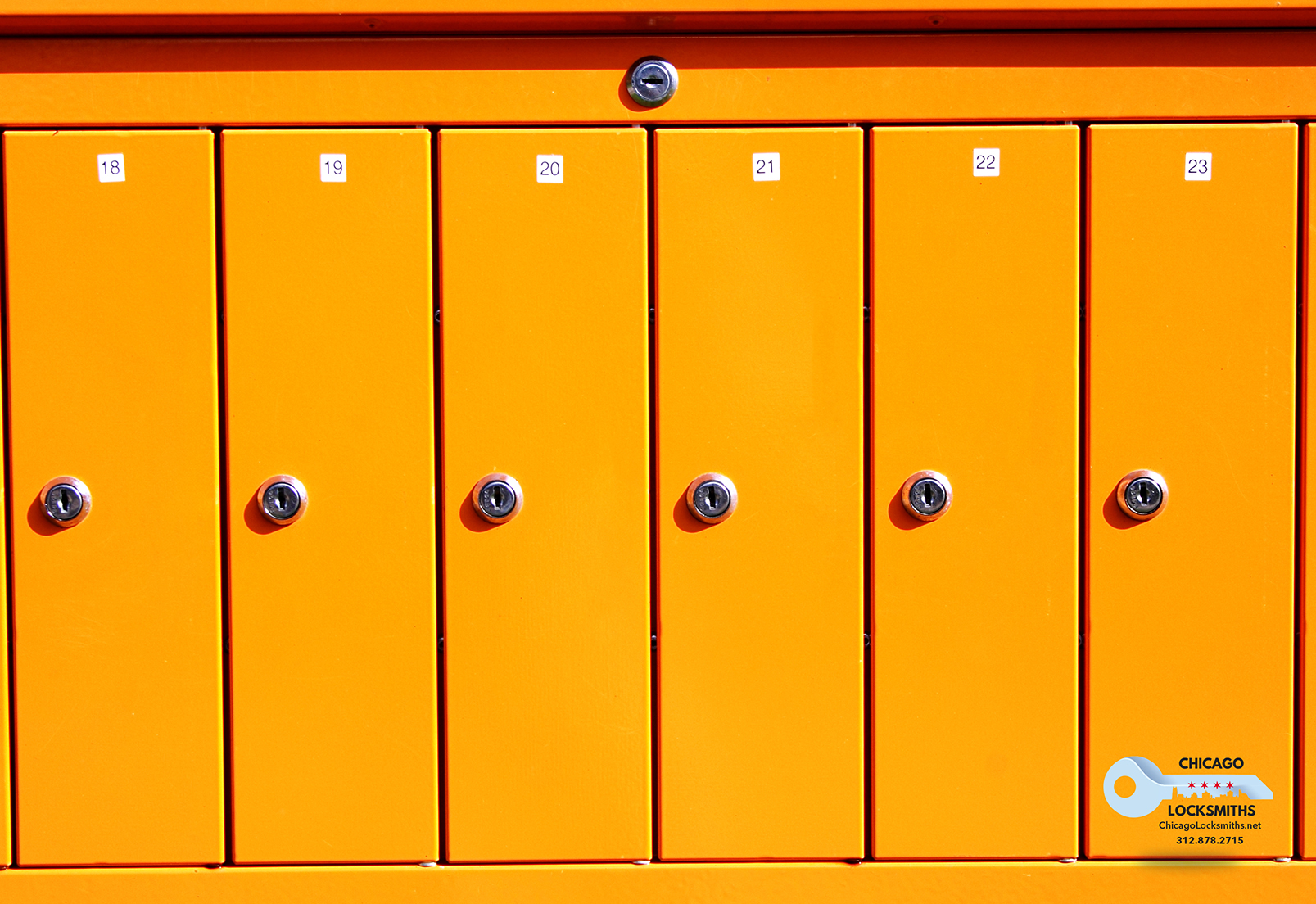 Yellow letterboxes maded from steel have stainless locks